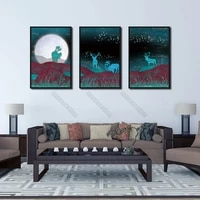 european style canvas poster big bright moon red grass and green fluorescent deer romantic starry sky for home rooms wall decora