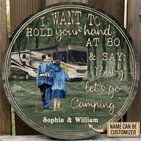 personalized baby lets go camping wood circle sign for home decor living room door decoration custom name