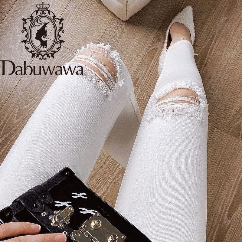 Dabuwawa Hole White Jeans Women Bottom Streetwear Zipper Ripped Jeans Pants Spring Trousers Skinny Female Denim DO1ALJ005