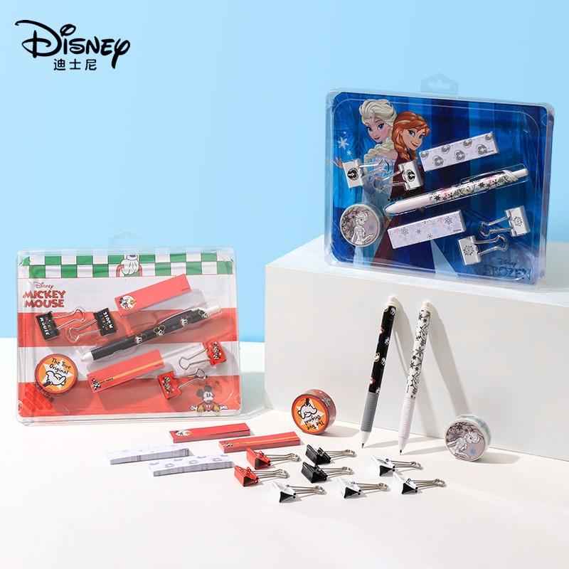 Juego de papelería Disney de dibujos animados Elsa Mickey bolígrafo Sticky Note Clip de cola larga juegos de cinta de papel conjunto de pluma de regalo 8 Uds
