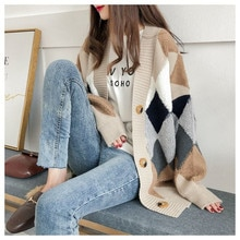 Cardigan sweater spring and autumn retro French lazy style knit cardigan women's mid-length net red