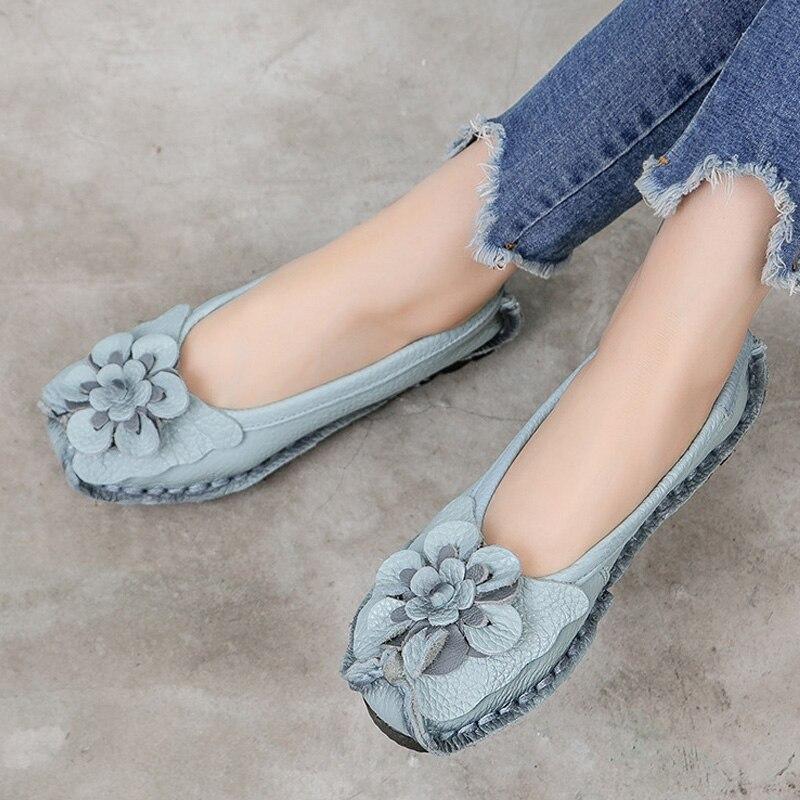 Zapatos de mujer 2020, zapatos planos de cuero genuino para mujer, zapatos planos con flores para mujer, mocasines de diseñador, mocasines hechos a mano