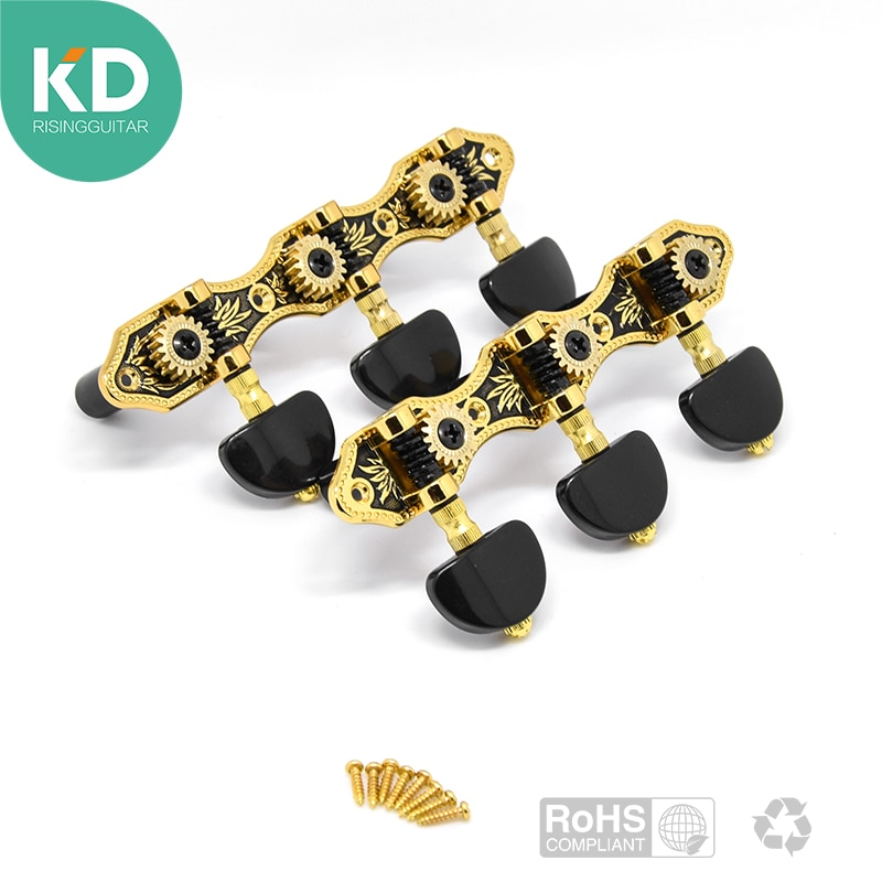 2 PCS Per Set High End Classical Guitar Tuning Pegs Machine Heads Black and Gold Color W/Black Button Vintage Style Guitar Parts enlarge