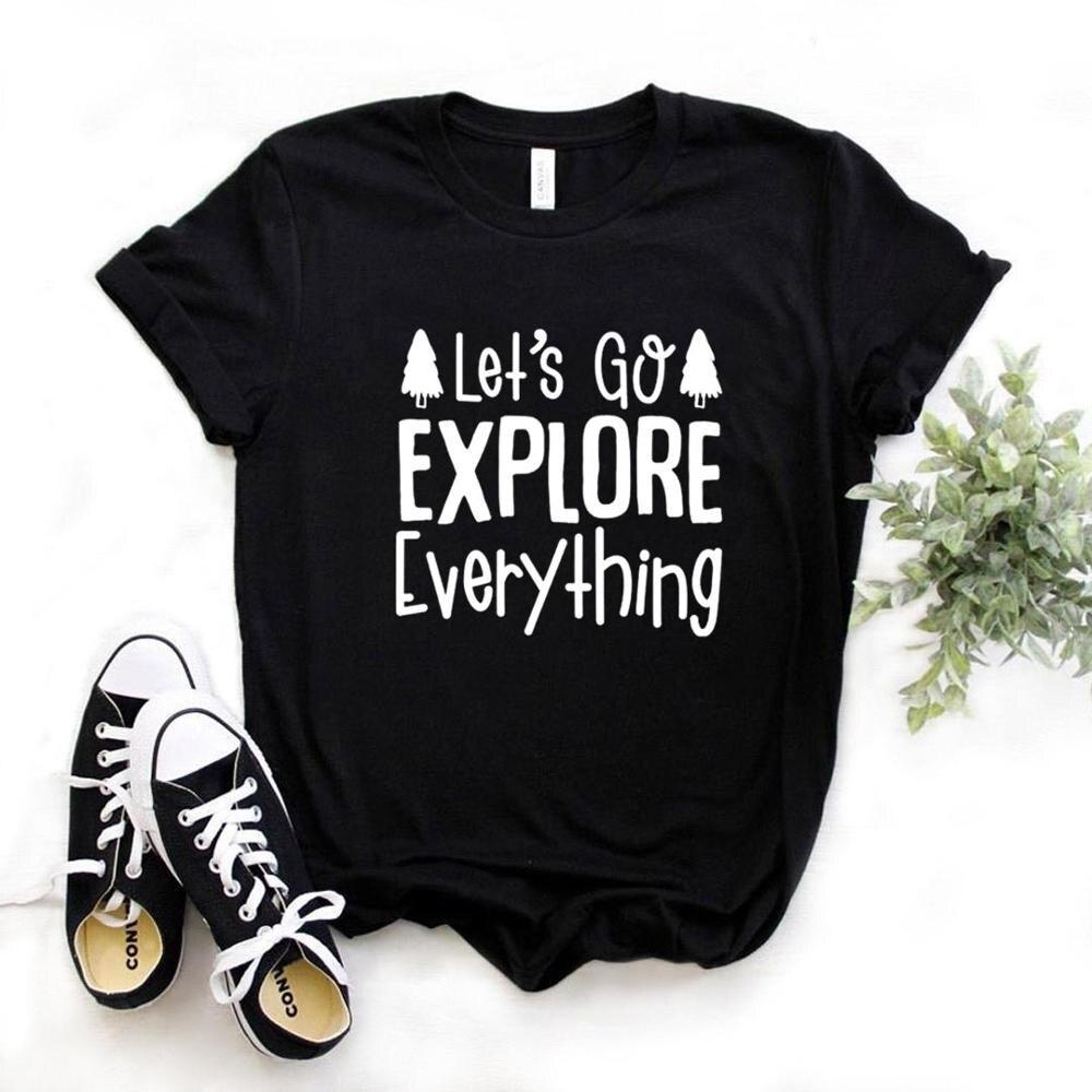 Women T Shirt Let's Go Explore Print Tshirt Women Short Sleeve O Neck T-shirt Ladies Causal Tee Shirt Tops TX5690 недорого