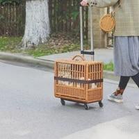 handmade rattan cat outing trolley bag labor saving universal wheel trolley case breathable basket cat bag