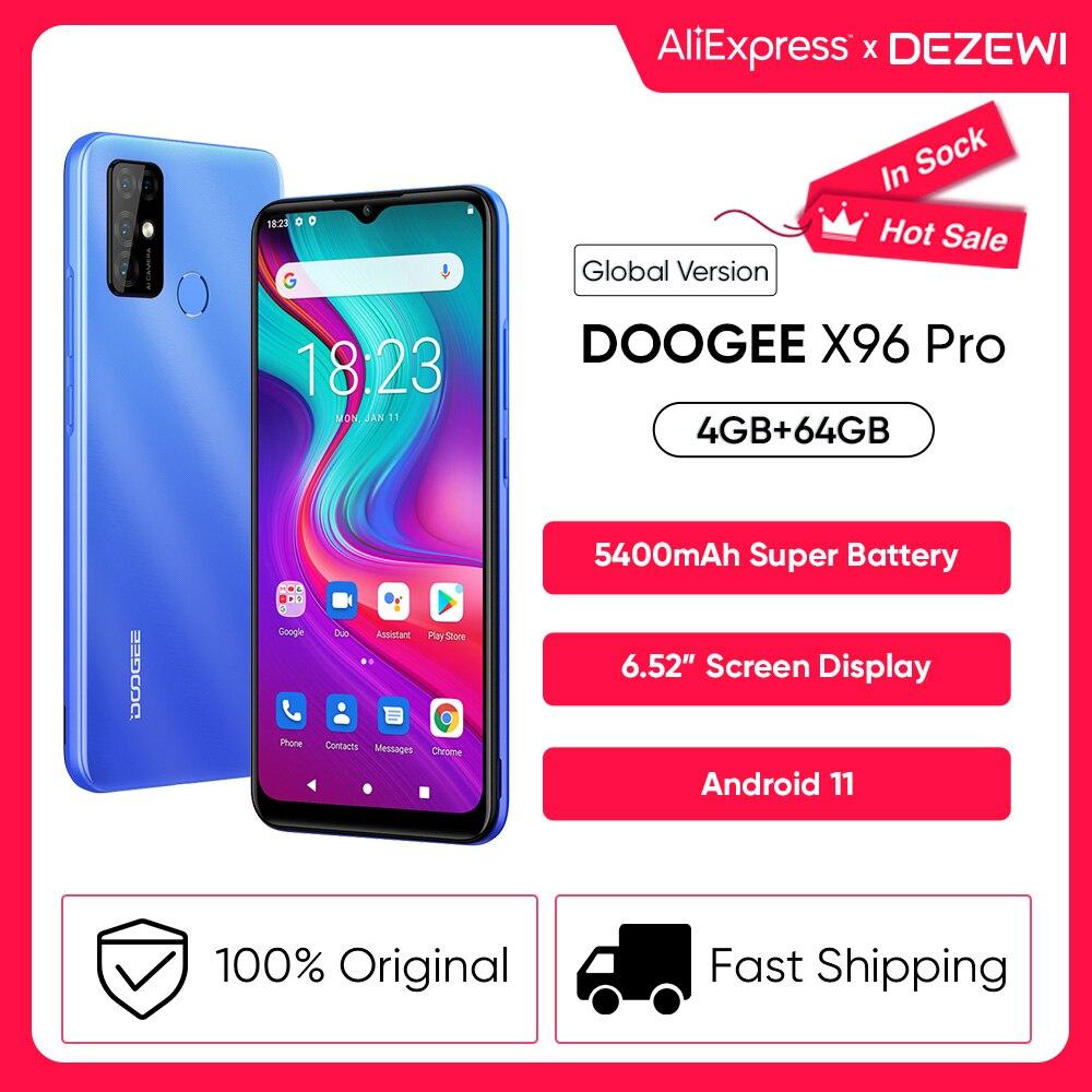 DOOGEE X96 Pro 5400mAh بطارية كبيرة الهواتف المحمولة 4GB RAM 64GB ROM ثماني النواة 13MP كاميرا رباعية الهواتف الذكية الهاتف المحمول أندرويد 11