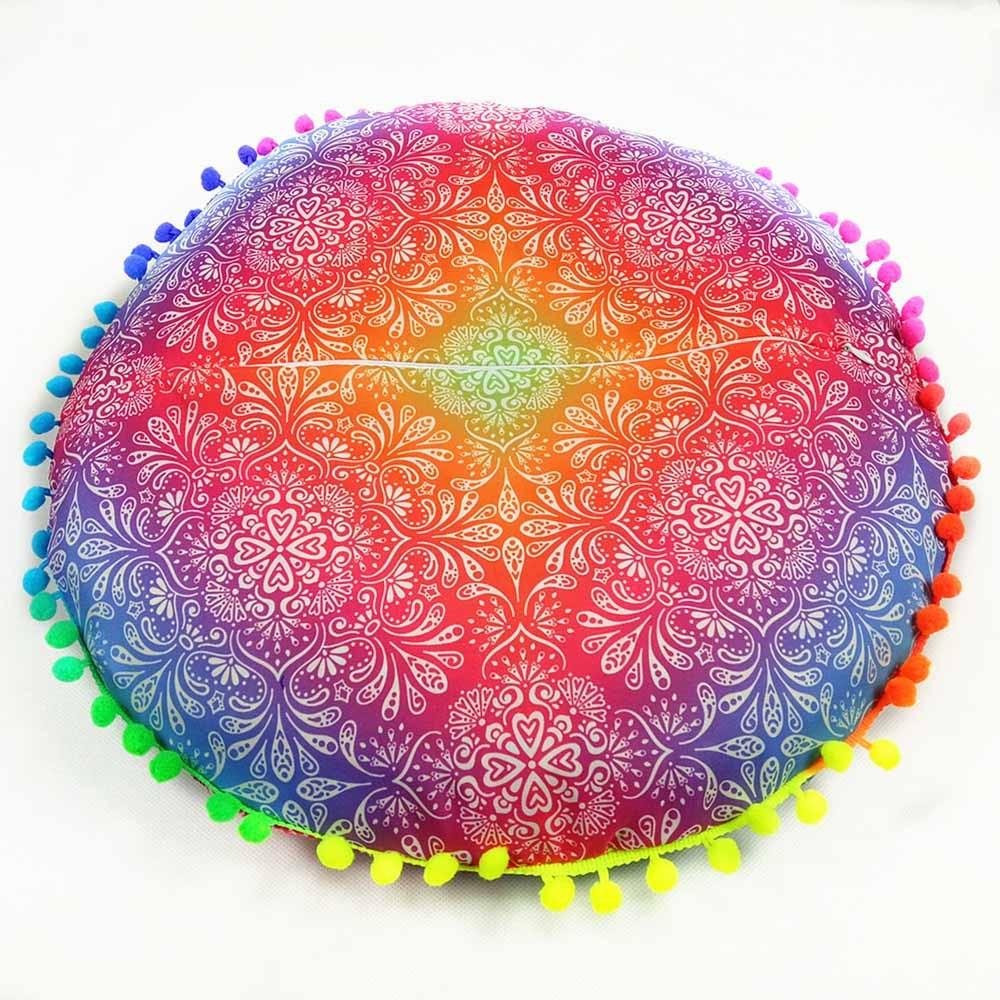 2020 Gran Mandala flor piso almohada cubierta ornamental redondo bohemio meditación cojín casos pluma de pavo real colorido cubiertas