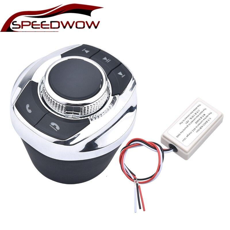 Forma de copa SPEEDWOW con luz LED, funciones de 8 teclas, botón de Control inalámbrico del volante del coche para reproductor de navegador Android del coche