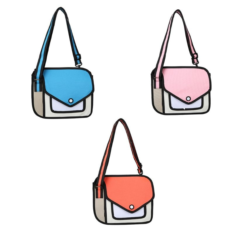 THINKTHENDO 2019 moda mujer 2D mochila escolar 3D ilustración de dibujos de papel Comic Crossbody bolso