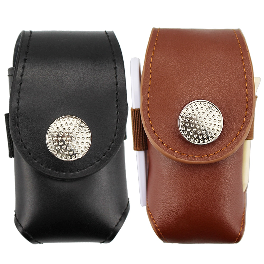 Bolsa de pelota de Golf Mini Clip de cuero portátil en el soporte de la pelota de Golf bolsa de soporte de 2 bolas de Golf herramienta de ayuda de regalo negro