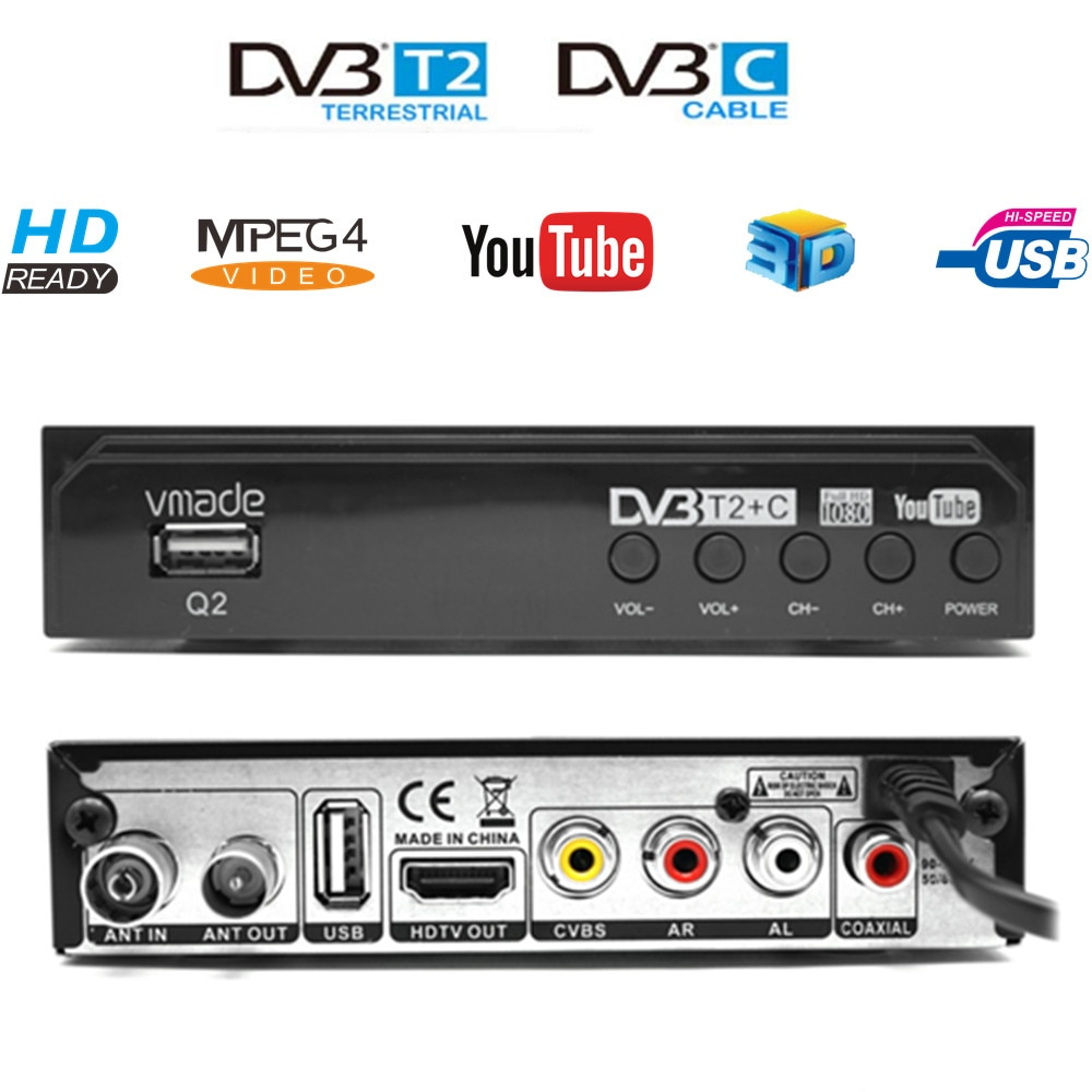DVB-T2 DVB-C 2 in 1 HD TV Tuner Fully 1080P Digital Receiver WIFI Free TV Box Youtube M3U AC3 Terrestrial Decoder For Russia недорого