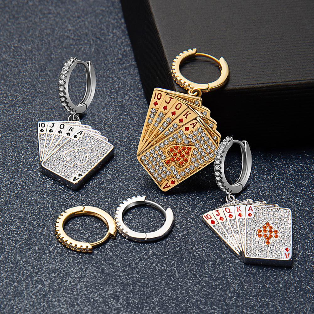 New Personalized Creative Asymmetric Poker Drop Earrings 3A+ Zircon Colored Heart Gold and Silver Earrings For Women girls gift