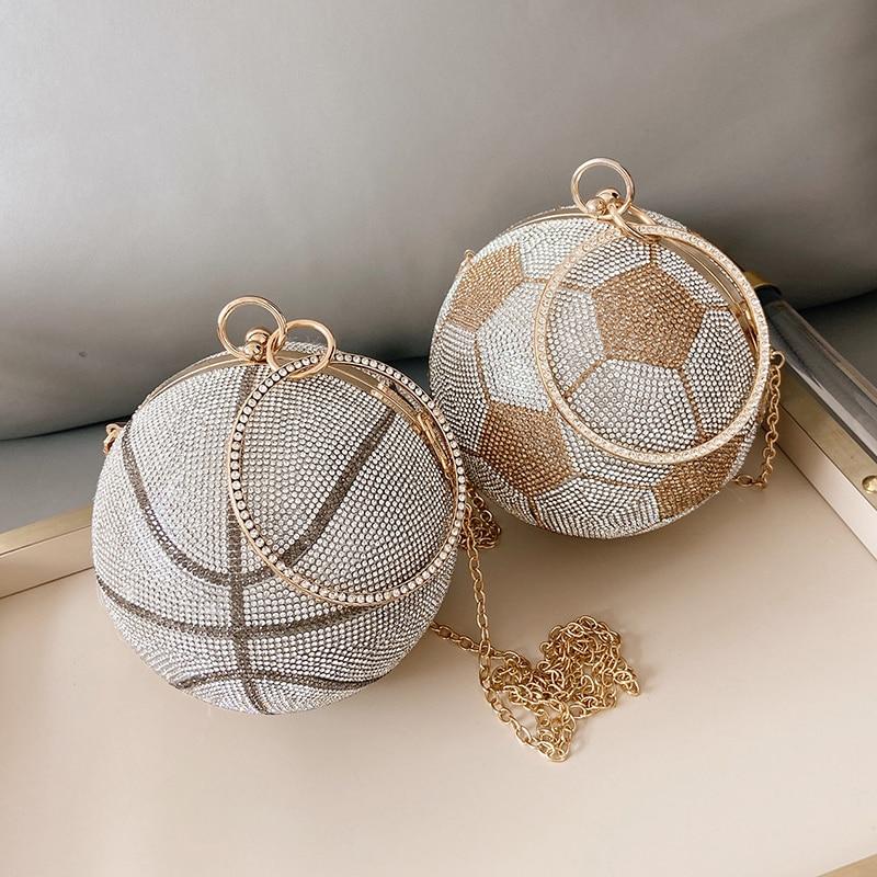 الفاخرة الماس كرة السلة حقائب يد للنساء كرة القدم شكل حفل زفاف محفظة وحقيبة يد الذهب والفضة مساء حقيبة ZD1917