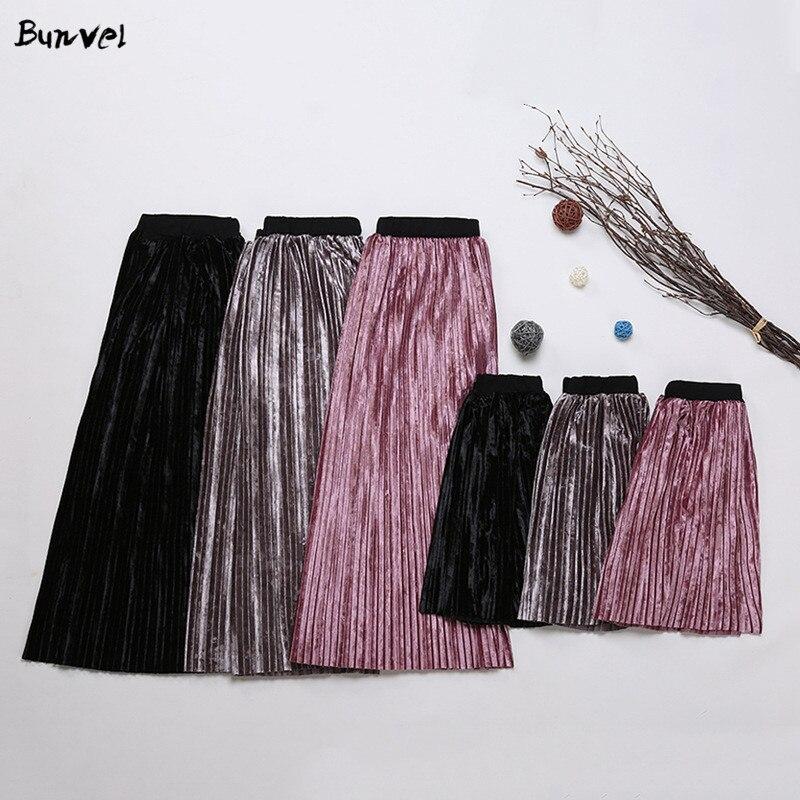 Bunvel, ropa de mamá y yo, falda para niña plisada de terciopelo, ropa Vintage de cintura alta, falda a juego, atuendo familiar, Vestidos f