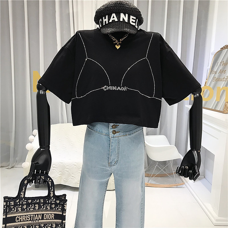 Fashion Diamonds  Tshirt Women  Streetwear Crop Top Short Sleeve O-Neck 2020 Summer  Japanese Style T Shirt  korean clothes