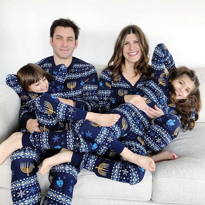 Natal pai-criança pijamas família roupas de dormir combinando manga longa outono pijamas pijamas inverno natal macacão wear