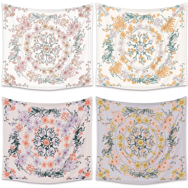 1 Pcs Bohemian Style Printed Tapestry Beautiful Floral Plant Wall Hanging Tapestry Blanket Beach Towels 130*150cm/150*200cm