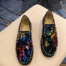 Luxury designer Men's Multicolor Spikes flats charm shoes Handmade Wedding Dress Evening Formal Shoe