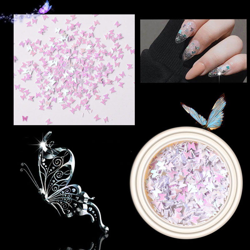 3D Butterfly Sequins for Nail Decoration DIY Holographic Nails Glitter Mix Nail Flakes Glitter Manicure Nails Art Accessories