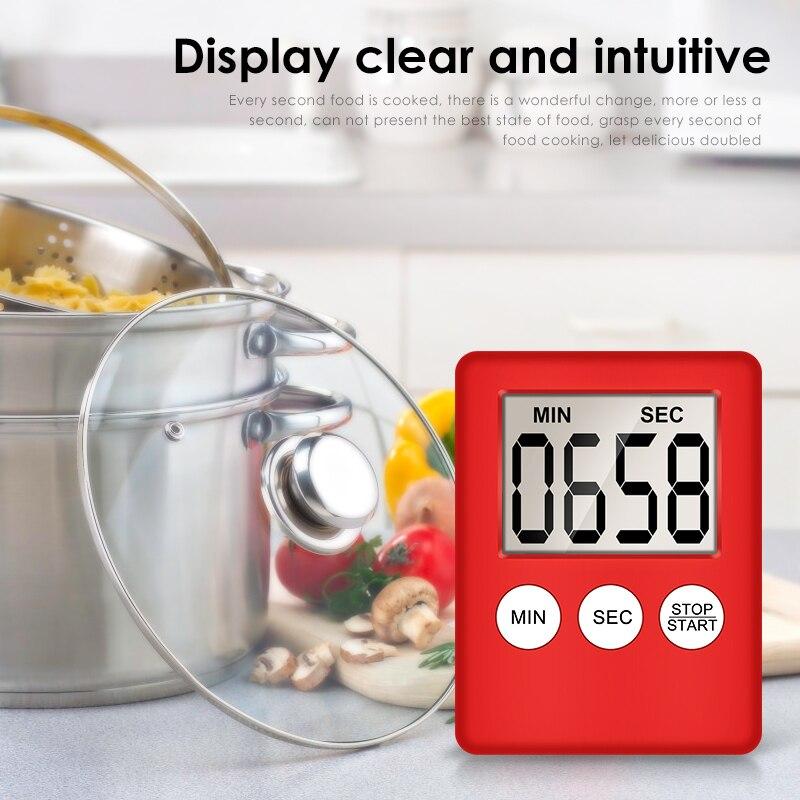 Pantalla Digital LCD de 8 colores Temporizador de cocina cuadrado conteo de cocina cuenta atrás alarma cronómetro de sueño reloj Temporizador dropshippin