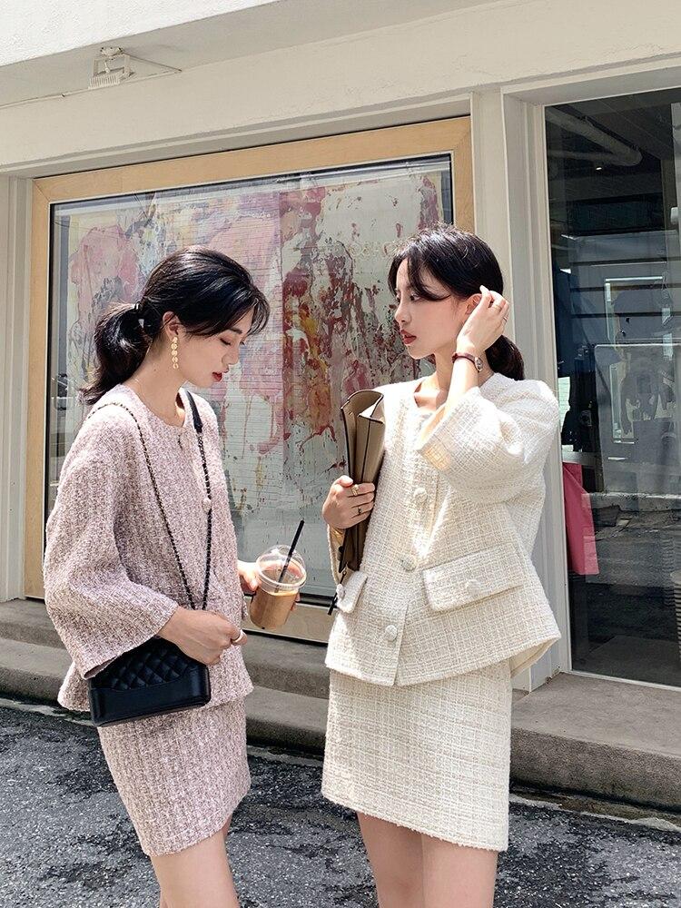 خريف شتاء تويد 2 قطعة مجموعة نساء تويد قصير جاكت صوف معطف Bodycon تنّورة مجسّمة طقم بدلة