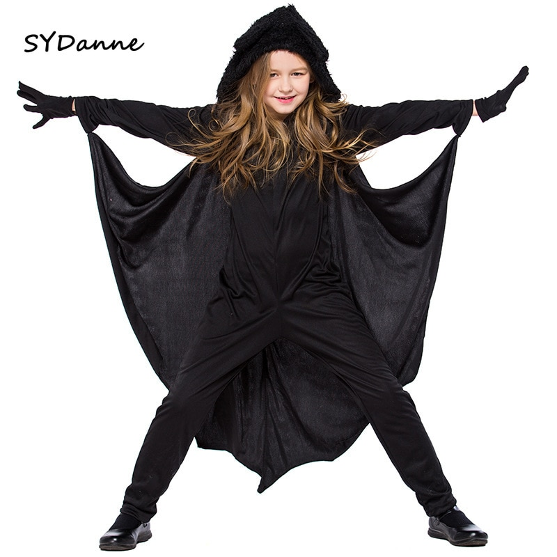 Black Vampire Bat Cosplay Costume masquerade girl Child Anime Kids Halloween Costumes For Jumpsuit