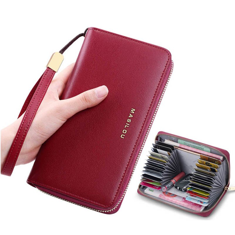 Female Clutch Bag Long Zipper Genuine Leather Wallets Woman RFID Anti Theft Business Credit Card Hol