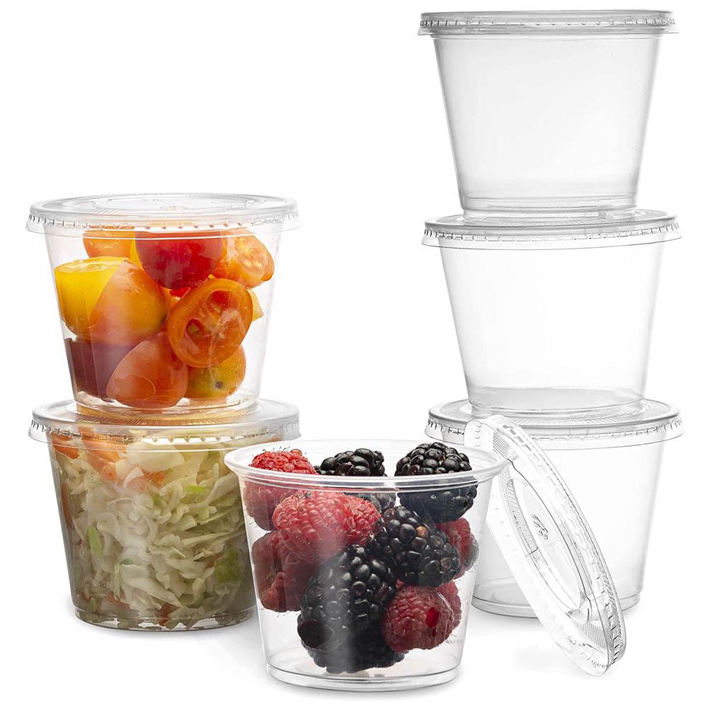100Pcs Disposable Plastic Cup With Lid Jelly Yogurt Mousse Sauce Condiment Transparent Tart Container