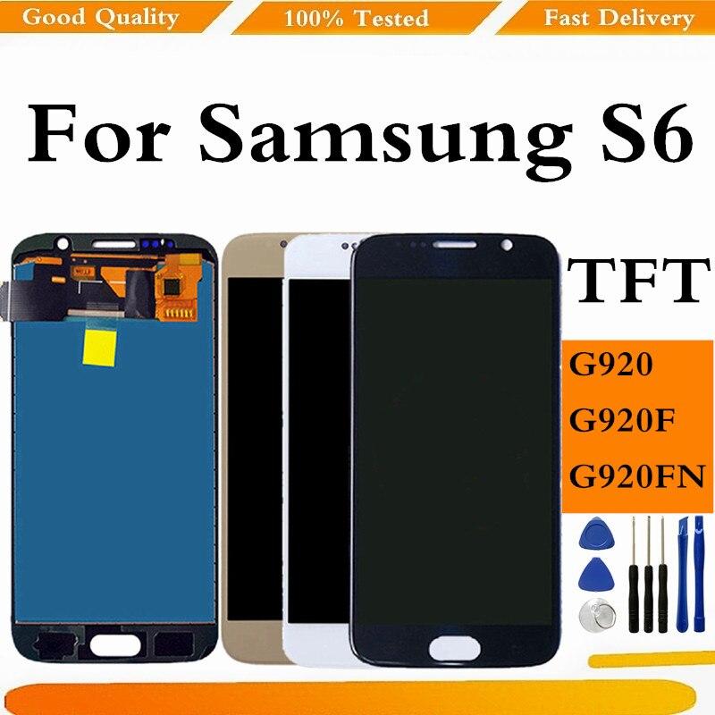 TFT LCD لسامسونج غالاكسي S6 LCD شاشة عرض لسامسونج S6 G920F شاشة تعمل باللمس محول الأرقام لسامسونج غالاكسي S6 G920 العرض