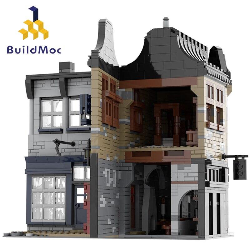 بنيت dmoc قطري زقاق ماجيك القلعة كسر مرجل بار و معدات اكتناز متجر منزل ألعاب مكعبات البناء للأطفال الهدايا
