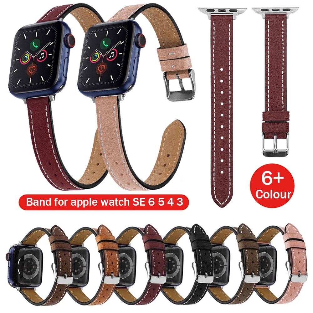 natural genuine leather loop band for apple watch 42mm 38mm women men sport strap for iwatch series 4 3 2 1 40mm 44mm wrist band 40mm 44mm Leather Loop for Apple Watch Band Series SE 6 5 42mm 38mm Extra-long Wrist Strap for IWatch Belt 4 3 2 1 Correa Bands