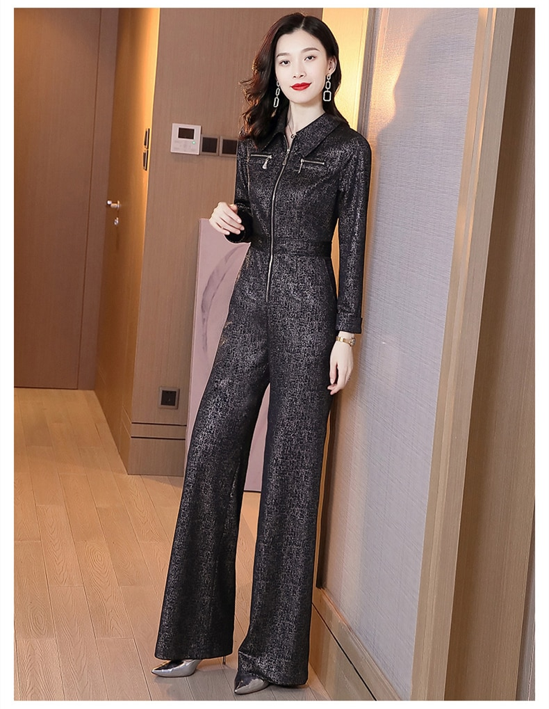 new spring and autumn office lady plus size brand female women full sleeve wide leg jumpsuits clothing