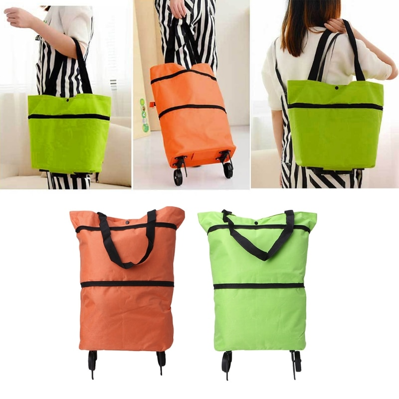 THINKTHENDO Folding Fold able Travel Trolley Bag Cart Grocery Handbag Tote Rolling Wheels Fashion New Big Capacity
