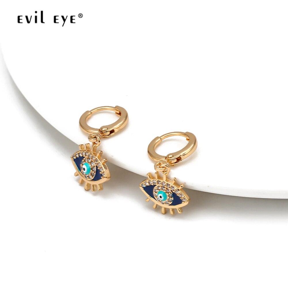 Mau olho azul turco olho gota brincos de cobre ouro prata cor orelha anel balançar brincos para mulheres meninas moda jóias bd353