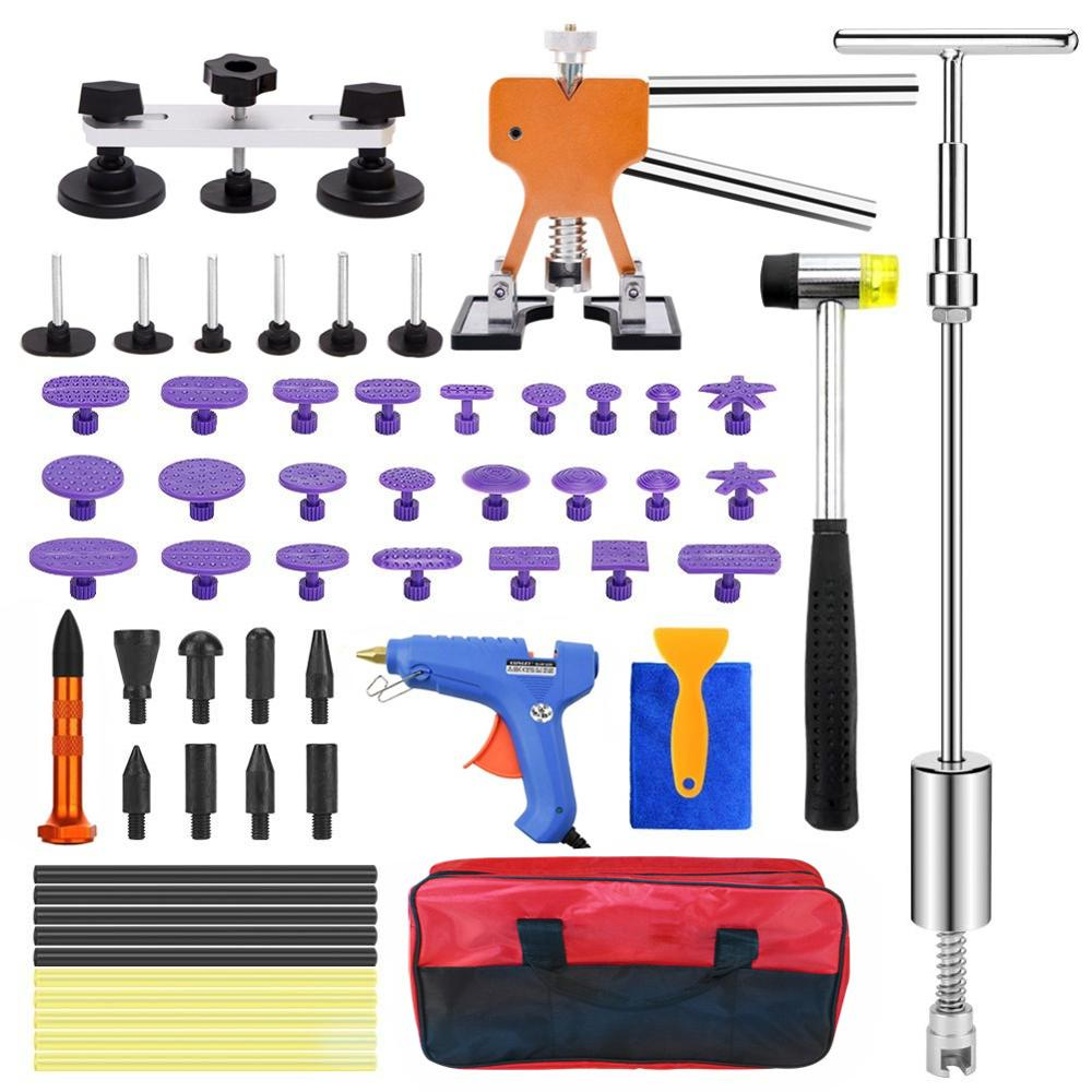 Paintless dent repair removedor kit de ferramentas remoção profissional granizo dent lifter ponte extrator t extrator cola quente tap down kit