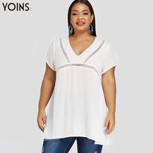 YOINS Bohemian V-neck Hollow Out Short Sleeve Blouse Female 2020 Spring Summer Elegant Shirt Casual Tops Plus Size Cotton Blusas
