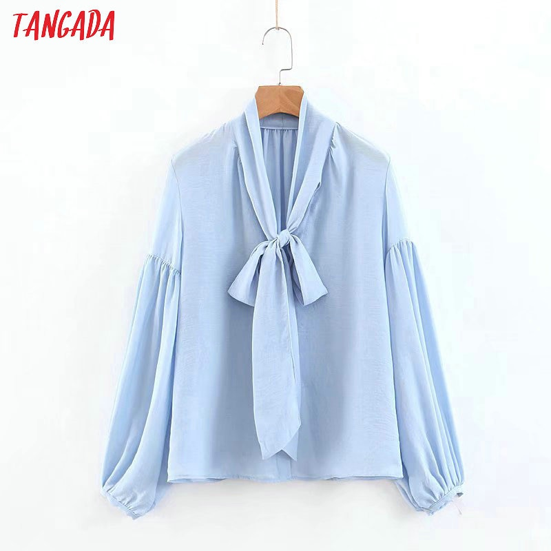 Tangada, blusa de chifón azul cielo para mujer, pajarita, cuello, camisas con mangas de linterna, tops de moda vintage, blusas para mujer SL62
