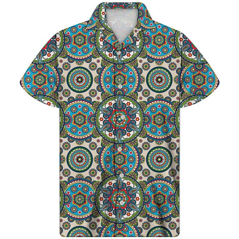 Camisa de Guayabera cubana, diseño de estilo bohemio, tela hawaiana, cuello vuelto, novedad de 2020, Camisa cubana con cuello, Camisa