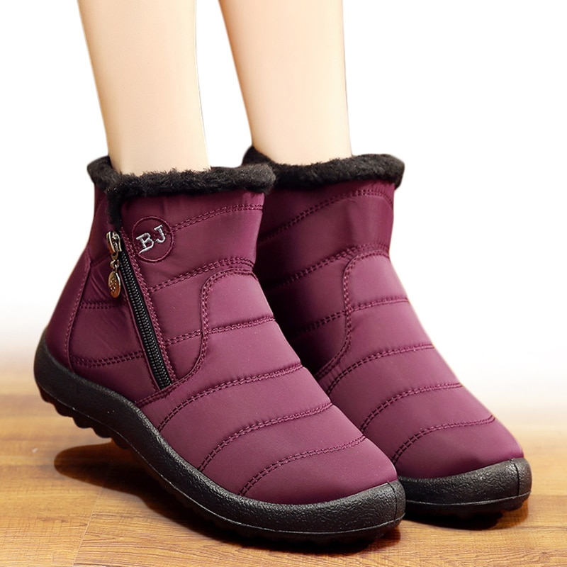 Women Boots 2019 Winter Shoes Woman Snow Boots With Plush Inside Botas Mujer Waterproof Plus Size 43