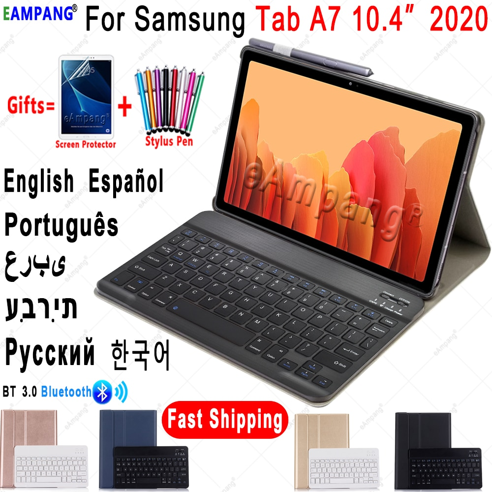 Case for Samsung Galaxy Tab A7 10.4 2020 Keyboard Case SM-T500 SM-T505 Cover Russian Spanish English