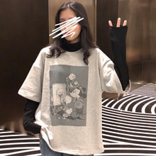 Spring Mickey Fake Two-Piece Ins Long-Sleeved T-shirt Women's Korean-Style Loose BF Idle Style Chic