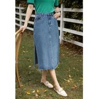 dushu office lady womens side slit retro denim skirt 2021 summer new high waist distressed denim skirt clothes