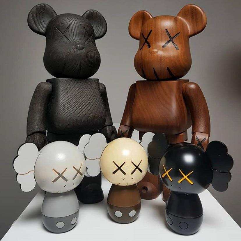 Semillas de mostaza japonesa, decoración de coche, Bearbricklys, pizarra limpia, figuras de acción de bloques, osos, muñecas de Pvc, modelos coleccionables