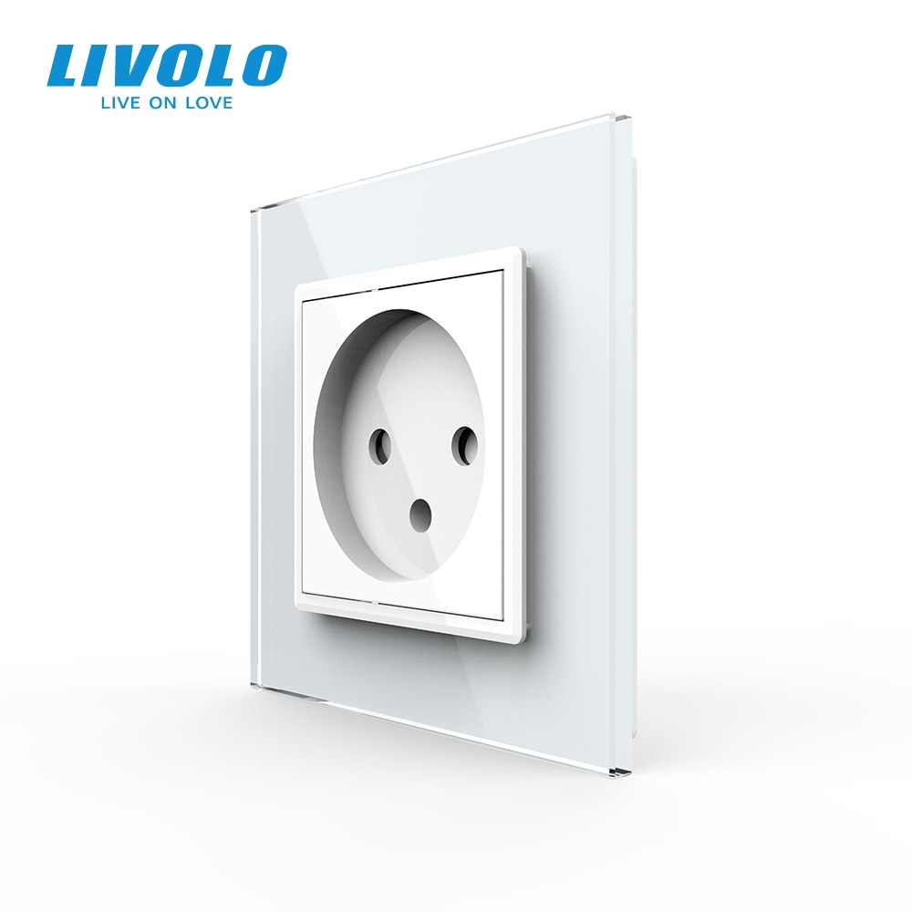 Livolo EU Standard Israel Power Socket, Crystal Glass Panel,100~250V 16A Wall Power Socket,C7C1IL-11/12/13/15(7colors),no logo