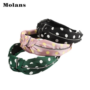 MOLANS Polka Dot Print Hair Hoop For Women Hair Accessories Cross Knotted Rhinestone Hair Band Headwear Headband 2020 New