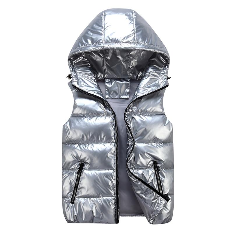 جديد 2021 سترة الرجال الشتوية الدافئة مع غطاء للرأس مبطن بالقطن صدرية بلون واحد حجم كبير 4XL