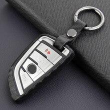 Clé de voiture Fob Bague Accessoires De Fiber De Carbone Pour BMW 5 6 7 Série GT M5 X1 X3 X5 X6 F45 G30 G32 G11 F90 F48 G01 F15 F16