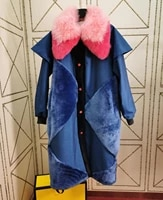 100 real fur coat wool fur collar white duck down filling real lamb fur jacket long down coat women winter oversize