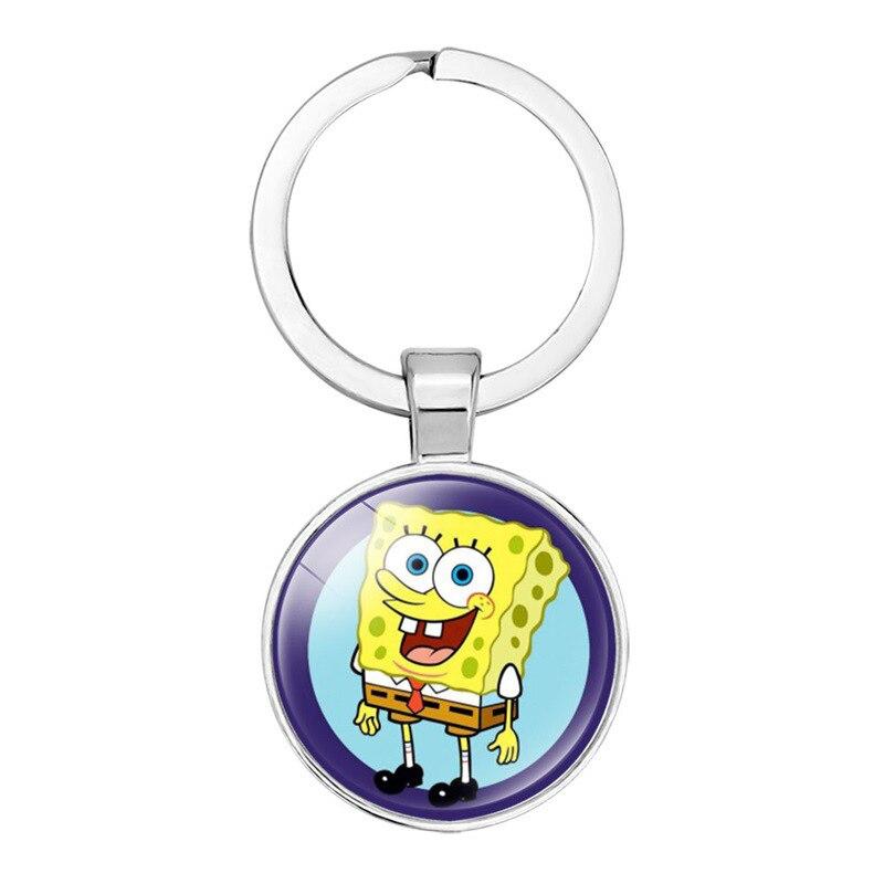 Cartoon Spongebob Keychain Gem Dome Glass Pendant Key Chains Keyring Jewelry Cute Gifts