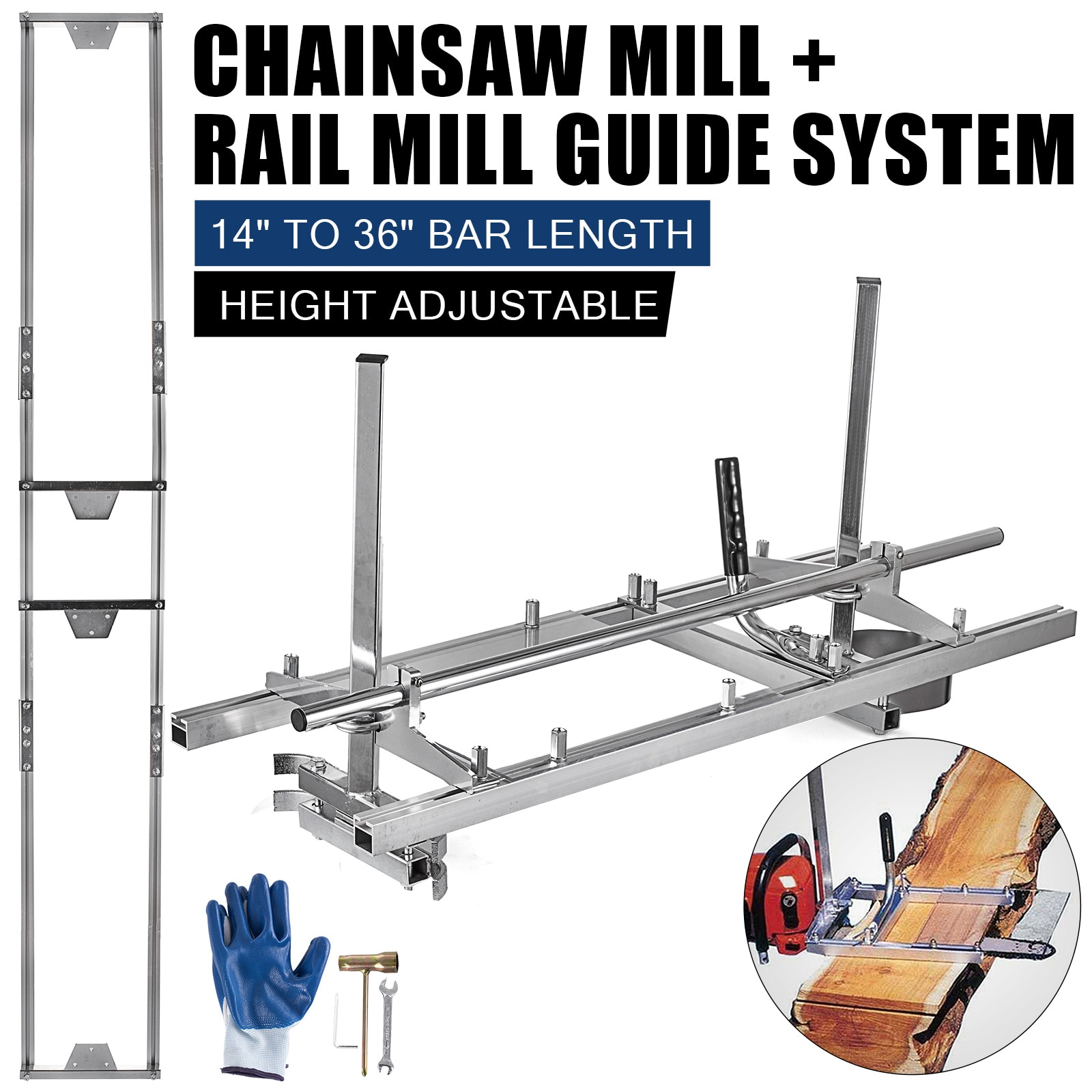 36Inch Chainsaw Mill Portable Milling Planking Rail System Aluminum Rail Guide Bar System Garden Power Wood Lumber Cutting Tools